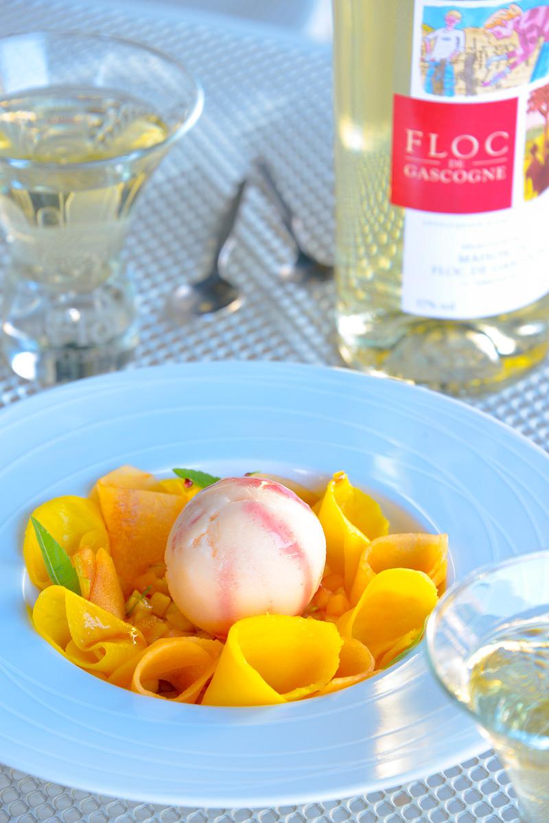 Recette Fraîcheur de mangue et melon, verveine et Floc de Gascogne