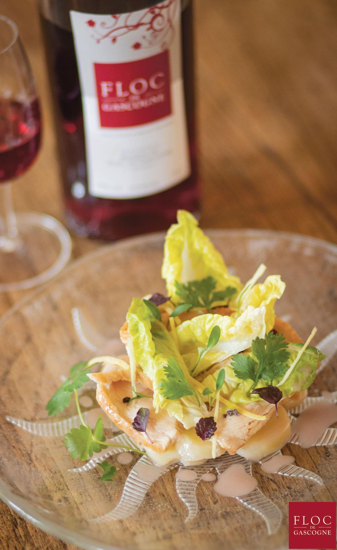 Belle salade de volaille et pommes grenailles rafraichies au gingembre, vinaigrette légère au Floc-de-Gascogne