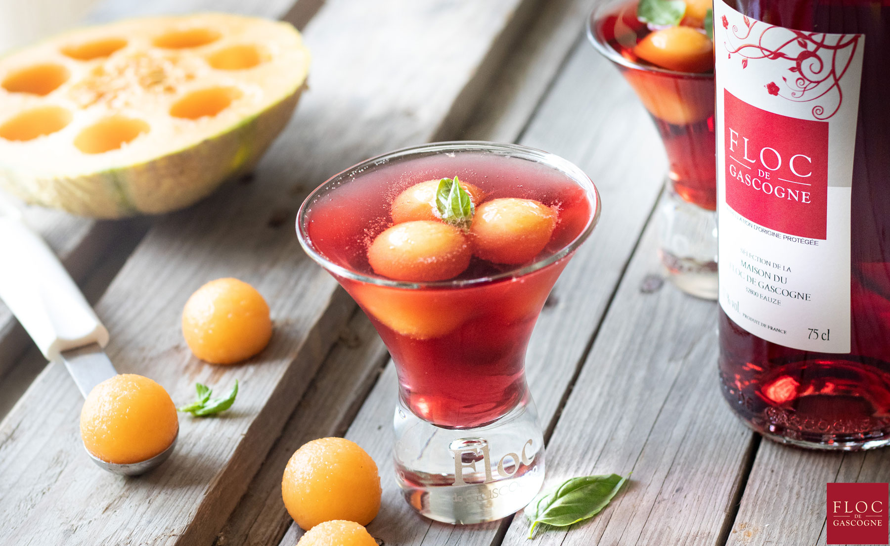 Cocktail Floc-de-Gascogne et melon
