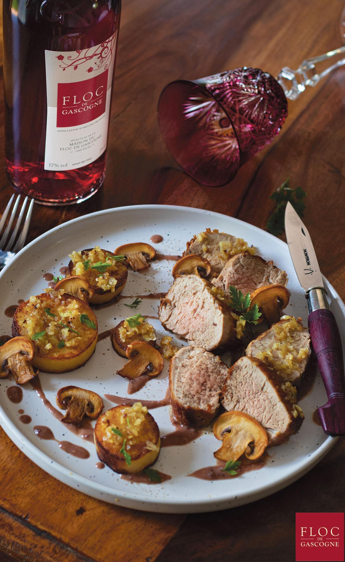 Recette de filet de mignon de porc et moutarde Floc-de-Gascogne