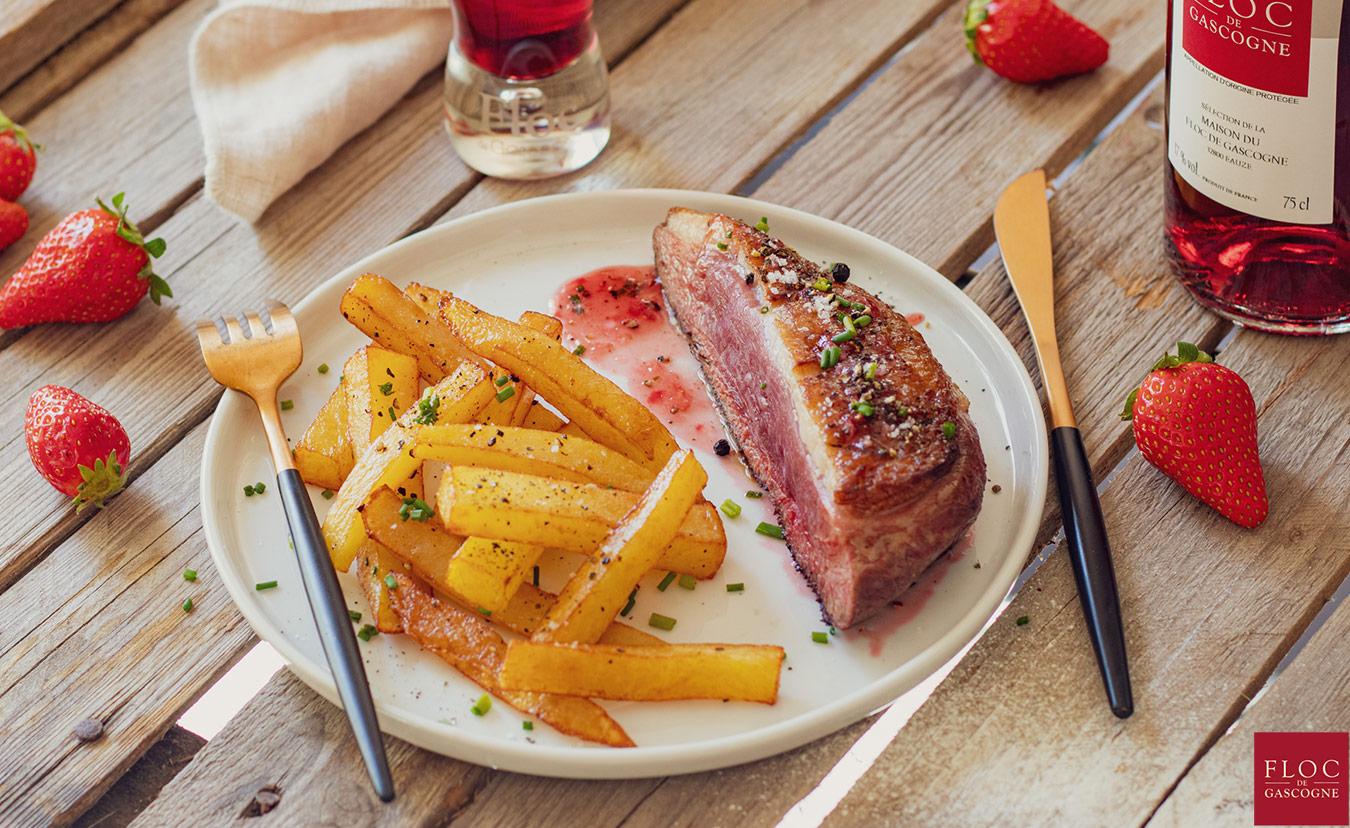 recette de magret de Canard grillé et sa sauce Floc-de-Gascogne, fraises et échalotes