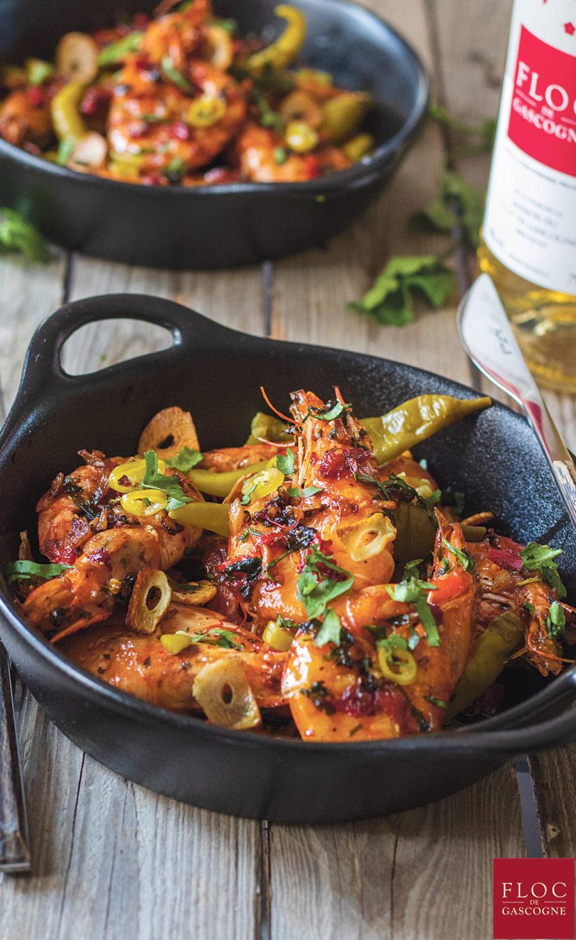 Une recette de crevettes sautées au Floc-de-Gascogne