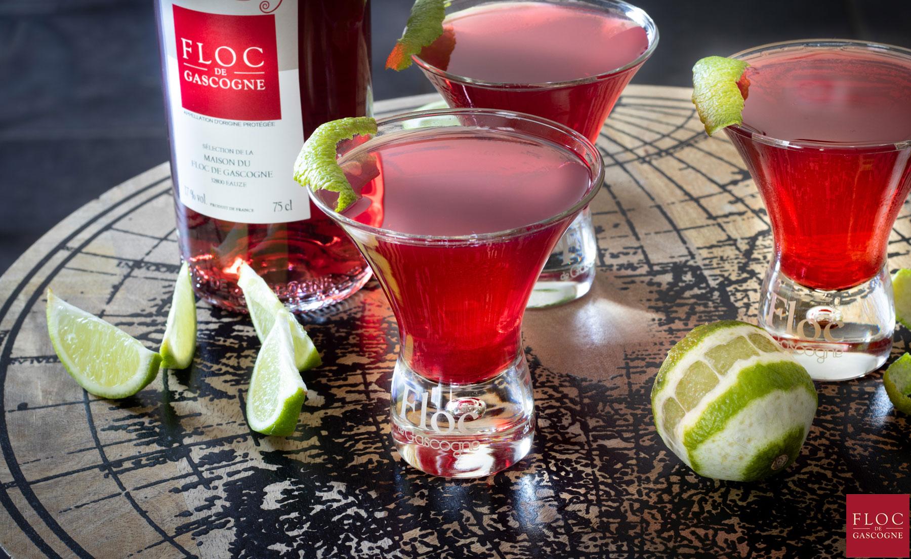 Cocktail cosmopolitan au Floc-de-Gascogne