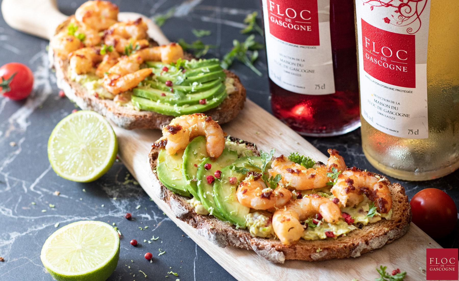 Recette bruschetta aux crevettes et guacamole
