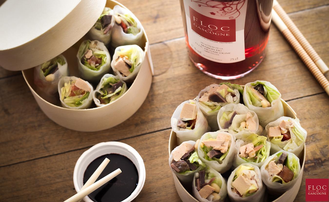 Recette de salade landaise dressée en maki